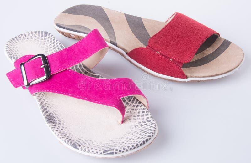 zapato sandalia de la mujer en un fondo imagen de archivo libre de regalías