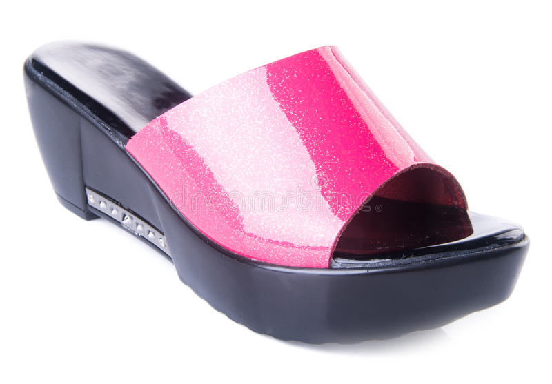 zapato sandalia de la mujer en un fondo imagenes de archivo