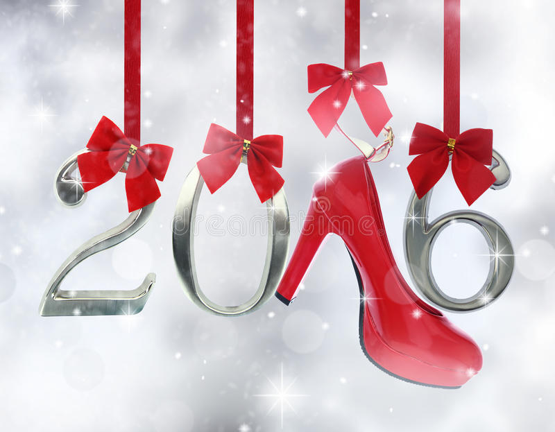Zapato y 2016 del tacón alto stock de ilustración