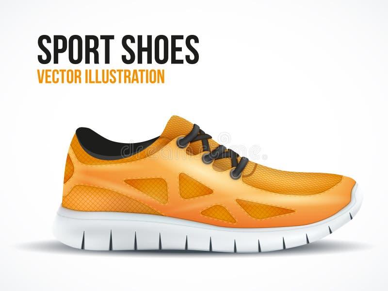 Zapatos anaranjados corrientes Símbolo brillante de las zapatillas de deporte del deporte stock de ilustración