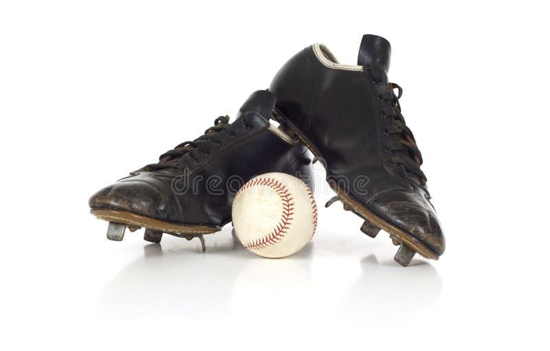 Zapatos antiguos del béisbol de la vendimia imagen de archivo