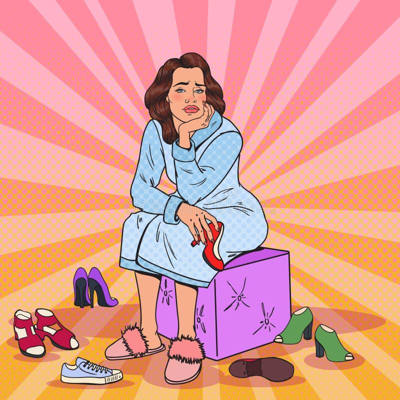Zapatos de Art Upset Pretty Woman Choosing del estallido Ropa de moda femenina stock de ilustración