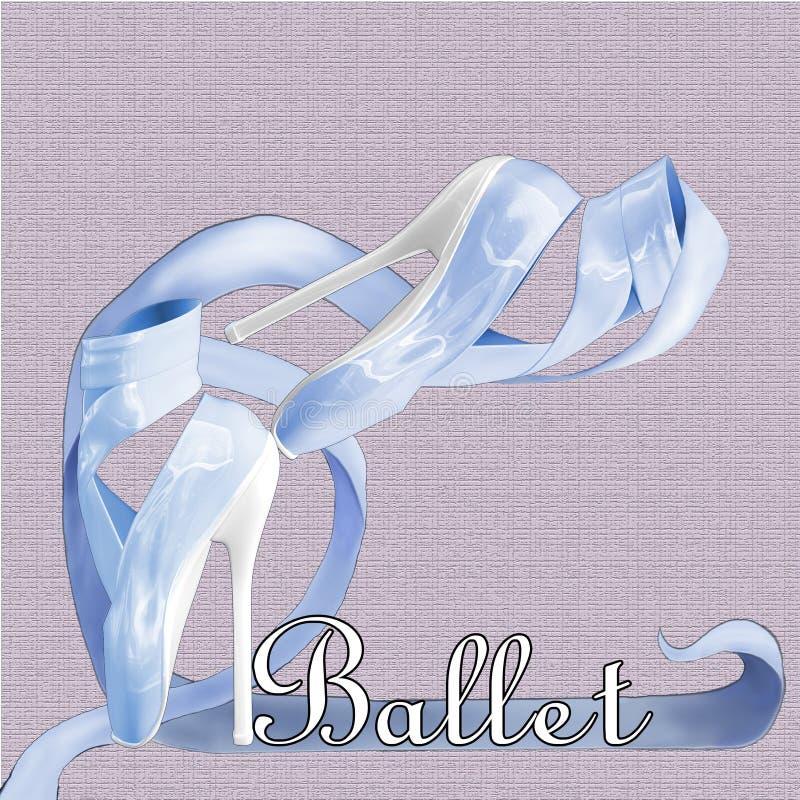 Zapatos de ballet azules stock de ilustración