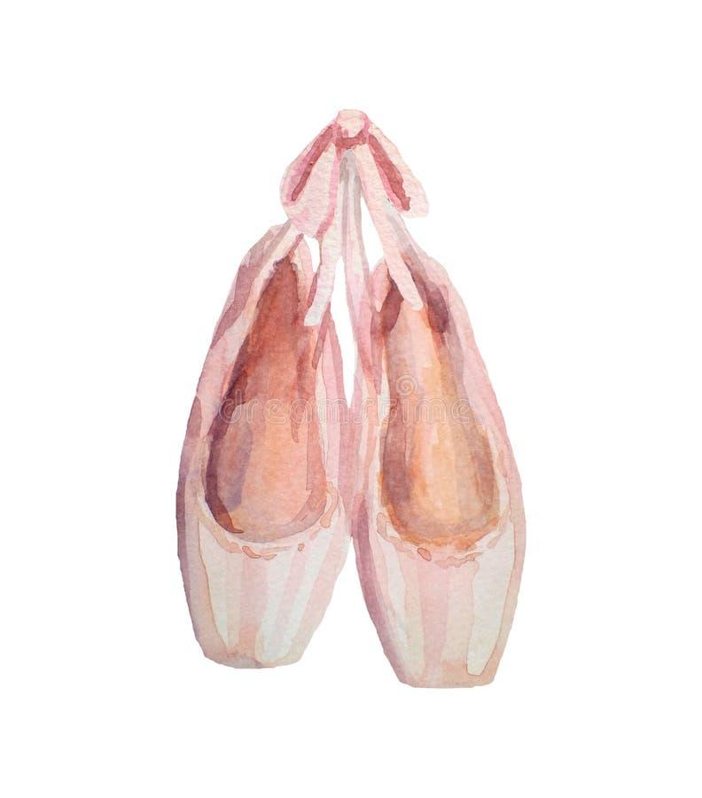 Zapatos de ballet Ejemplo pintado a mano de la acuarela aislado en el fondo blanco ilustración del vector