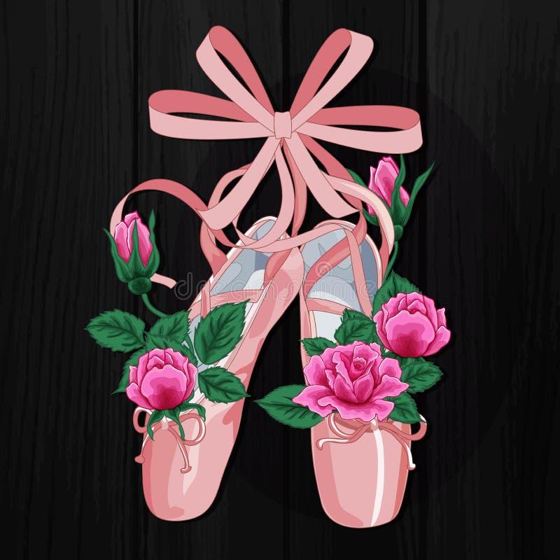 Zapatos de ballet femeninos de los pointes rosados con diseño plano de las rosas rosadas en fondo negro stock de ilustración