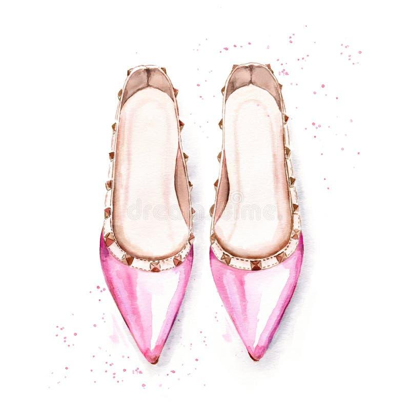 Zapatos de ballet rosados pintados a mano del ` s de las mujeres ilustración del vector
