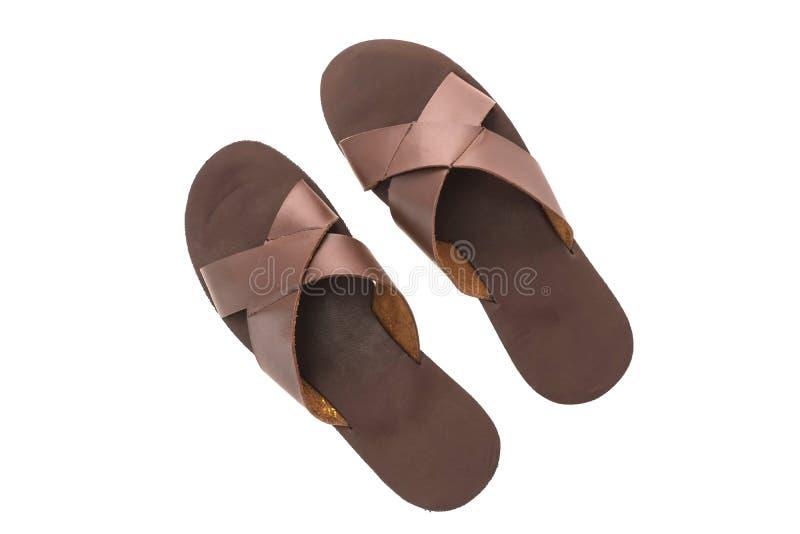 Zapatos de cuero de la sandalia y de la chancleta de los hombres fotos de archivo libres de regalías