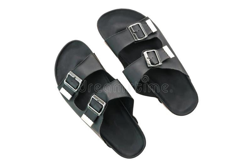 Zapatos de cuero de la sandalia y de la chancleta de los hombres imagen de archivo