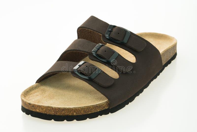 Zapatos de cuero de la sandalia y de la chancleta de los hombres foto de archivo libre de regalías