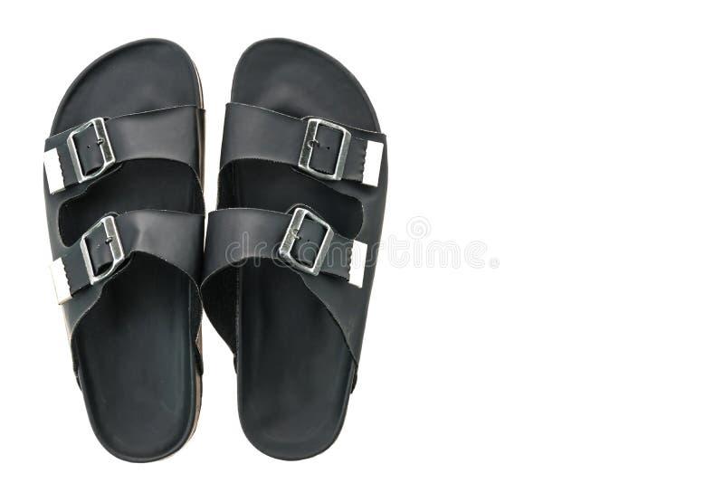 Zapatos de cuero de la sandalia y de la chancleta de los hombres fotografía de archivo