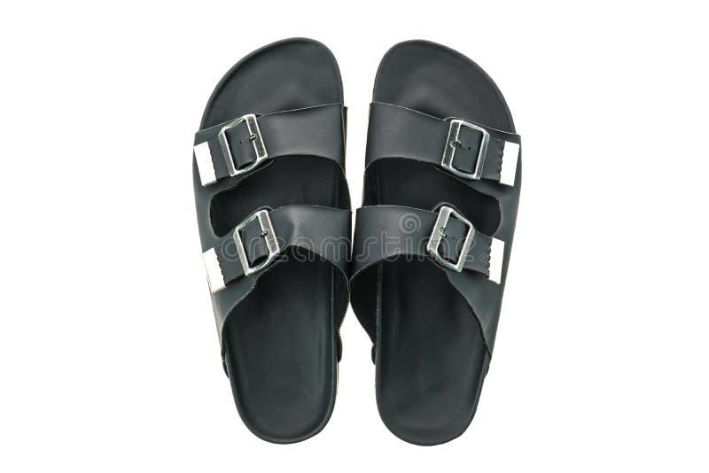 Zapatos de cuero de la sandalia y de la chancleta de los hombres imágenes de archivo libres de regalías