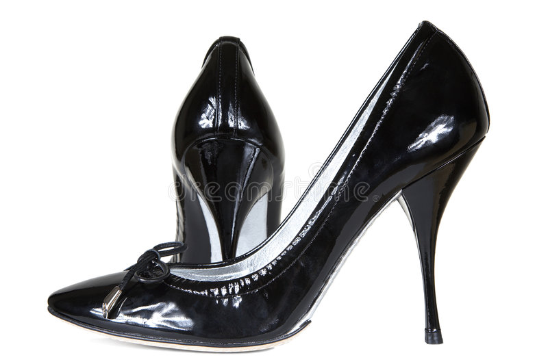 Zapatos de cuero de patente imagen de archivo libre de regalías