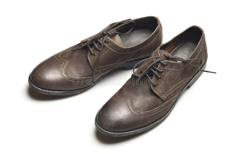 Zapatos de cuero marrón oscuro en el fondo blanco imagen de archivo libre de regalías