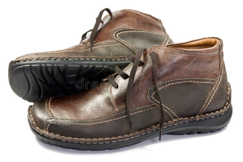 Zapatos de cuero masculinos de Brown imágenes de archivo libres de regalías