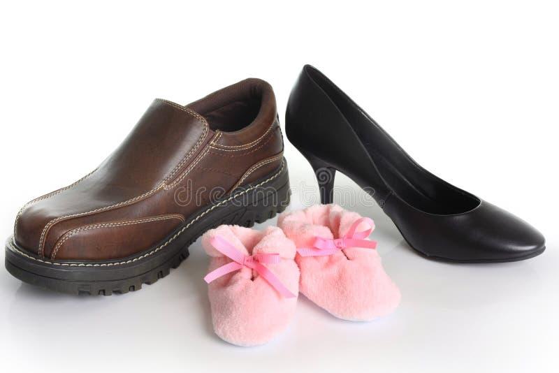 Zapatos de la familia foto de archivo