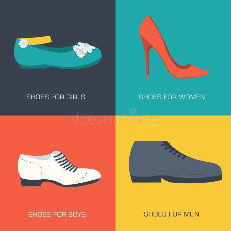 Zapatos de la moda para la familia en estilo plano Banderas del concepto del ejemplo del vector Plantilla para el sitio web y el  ilustración del vector