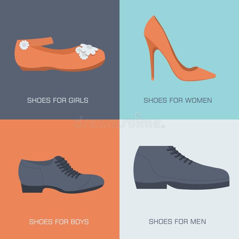 Zapatos de la moda para la familia en estilo plano Vector ilustración del vector