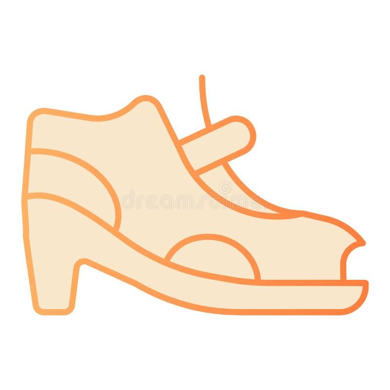Zapatos de la mujer con el icono plano del corchete Iconos anaranjados de las sandalias de tac?n alto en estilo plano de moda Dis libre illustration