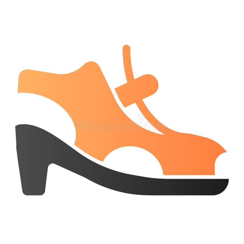 Zapatos de la mujer con el icono plano del corchete Las sandalias de tac?n alto colorean iconos en estilo plano de moda Dise?o de stock de ilustración