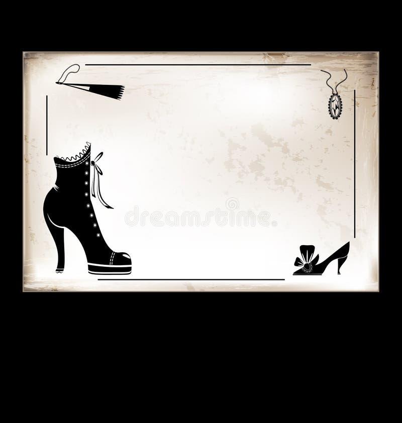 Zapatos de la señora de la tarjeta del vintage libre illustration