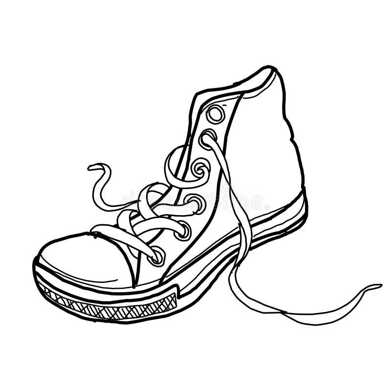 Zapatos de moda del bosquejo monocromático del diseño del ejemplo en el fondo blanco stock de ilustración