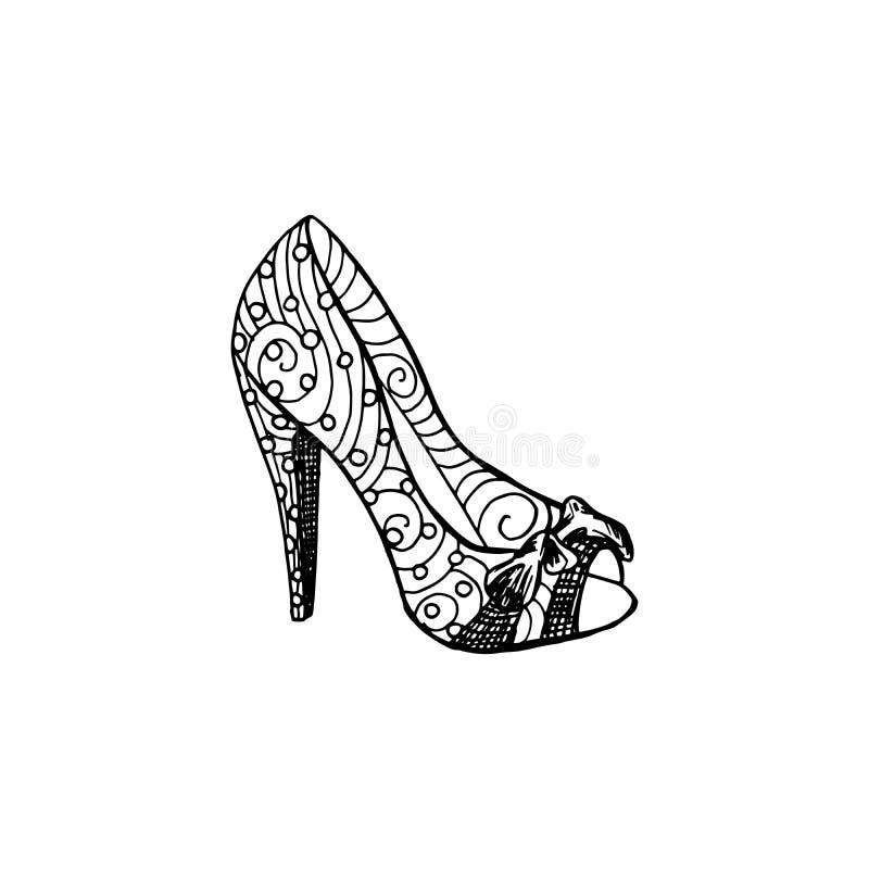 Zapatos de tacón alto para la mujer Forme las ilustraciones del calzado en terraplén de modelo del estilo del zapato libre illustration