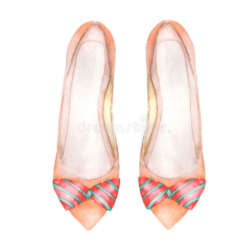 Zapatos del ballet de las mujeres rosadas del ejemplo con un arco Pintado a mano en una acuarela en un fondo blanco stock de ilustración