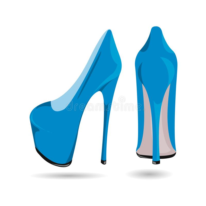 Zapatos del charol azules de las mujeres, aislados en un fondo blanco Zapatos azules con un tacón alto ilustración del vector