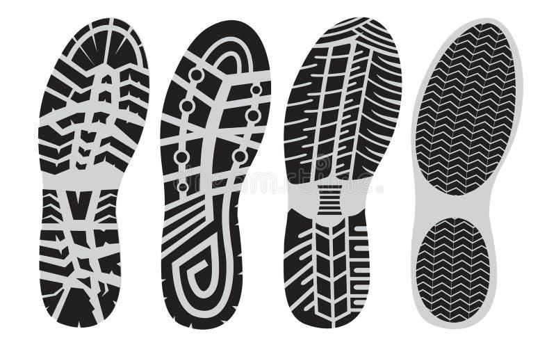 Zapatos del deporte de la huella stock de ilustración