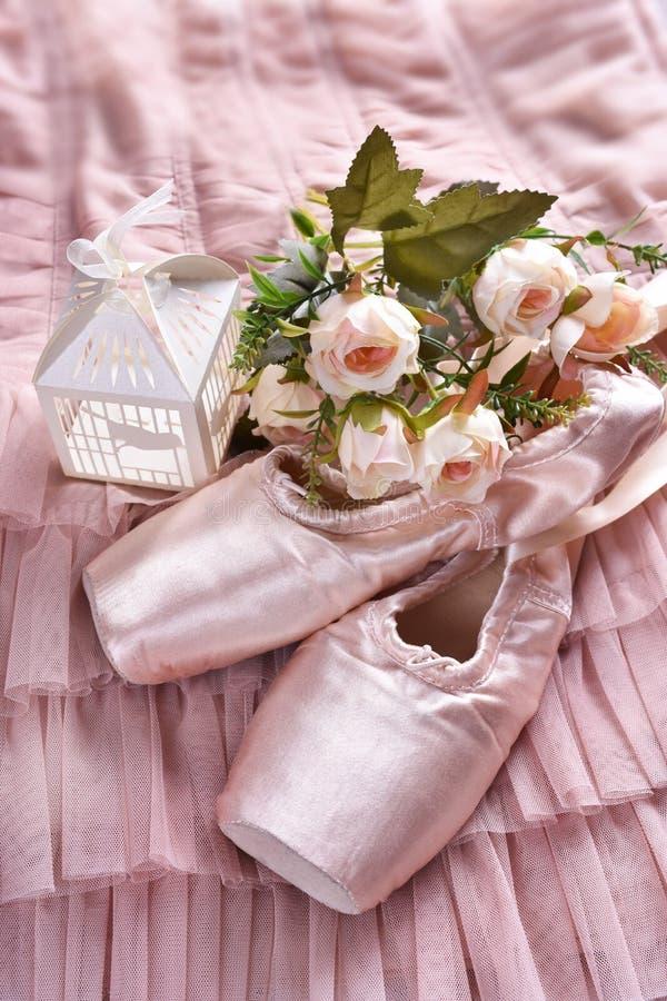 Zapatos del pointe del ballet que mienten en el vestido de Tulle foto de archivo libre de regalías
