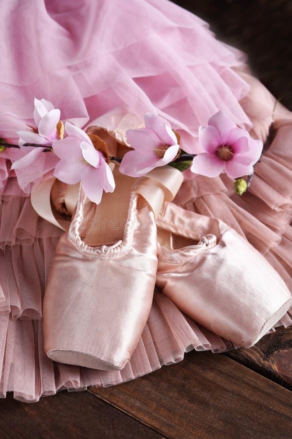 Zapatos del pointe del ballet y vestido de Tulle imagen de archivo