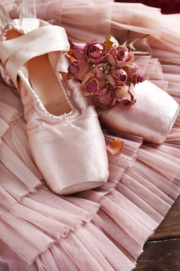 Zapatos del pointe del ballet y vestido de Tulle fotos de archivo