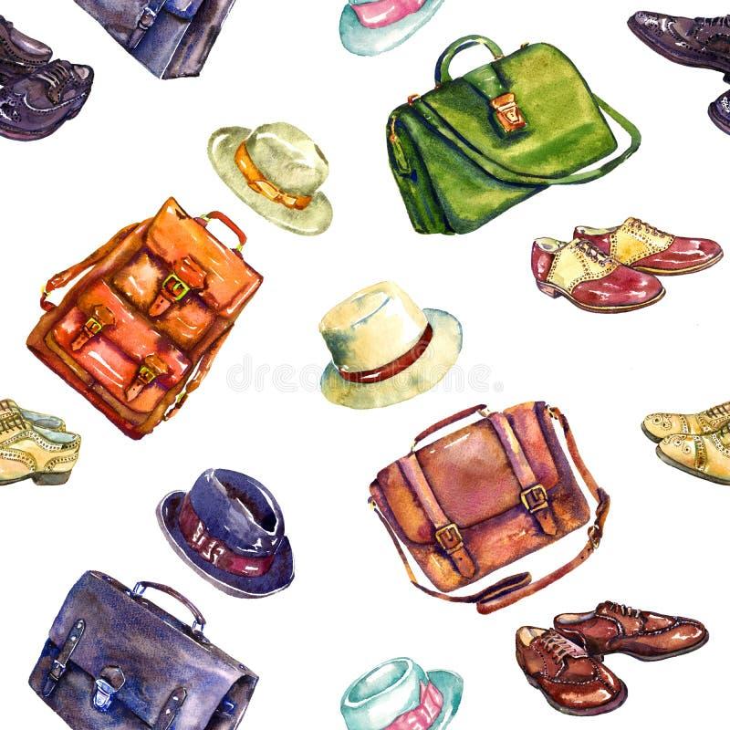 Zapatos del ` s de los caballeros, bolsos y colección elegante de la combinación de los sombreros, diseño inconsútil del modelo e ilustración del vector