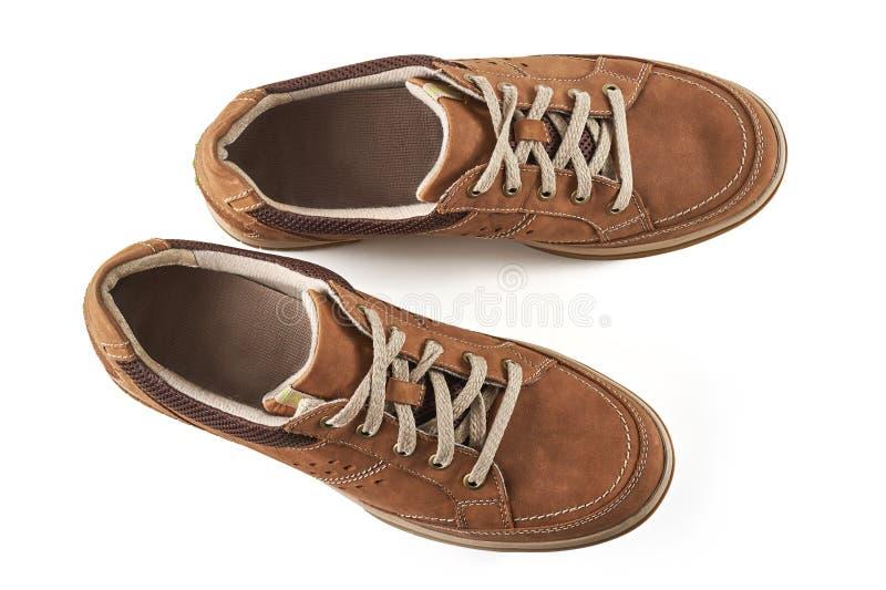 Zapatos del ` s de los hombres de Brown foto de archivo libre de regalías