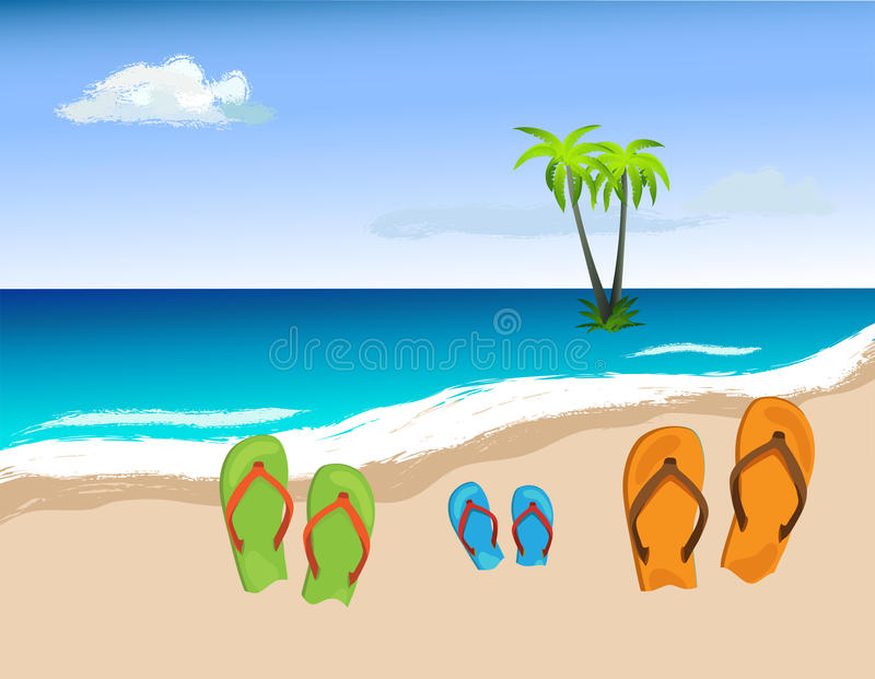 Zapatos del verano en la playa, vector ilustración del vector