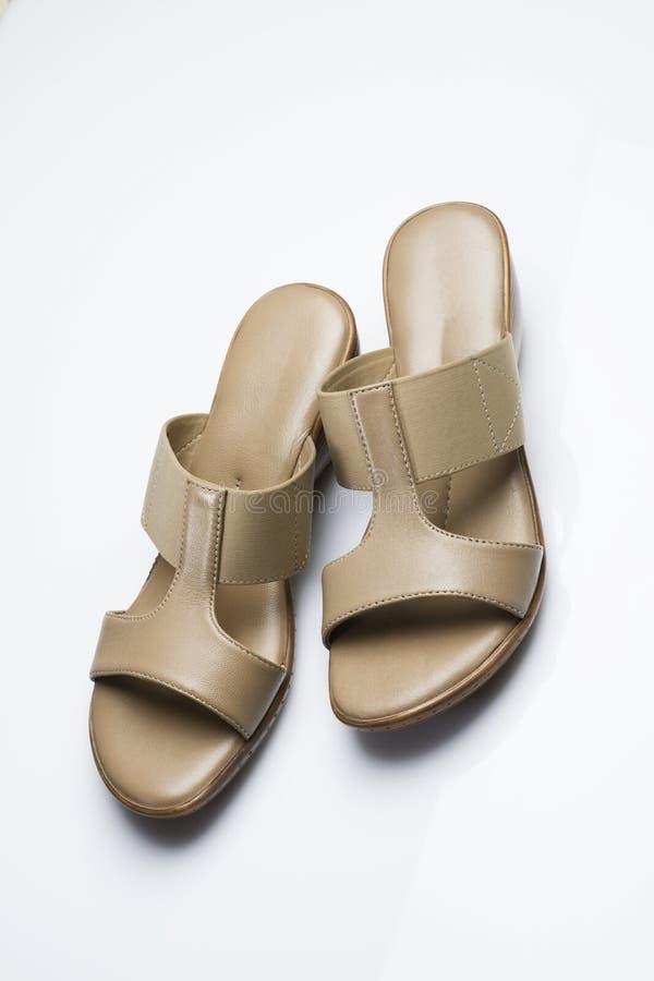 Zapatos: Emparéjese de la sandalia de las mujeres aislada en el fondo blanco tirado en estudio fotos de archivo libres de regalías
