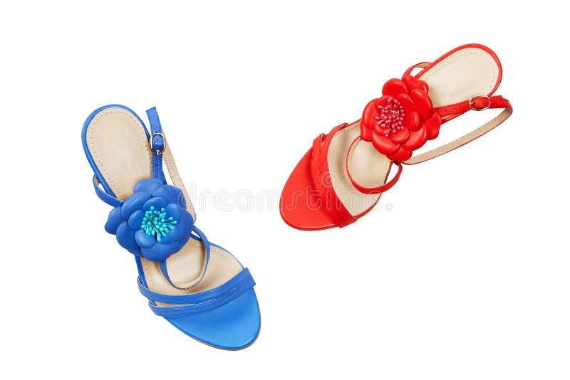 Zapatos femeninos azules y rojos imagenes de archivo