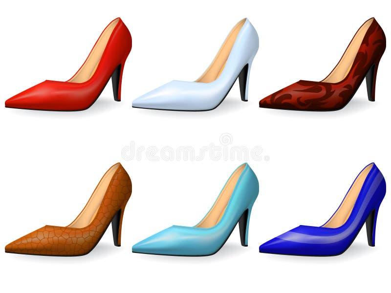 Zapatos femeninos de moda stock de ilustración