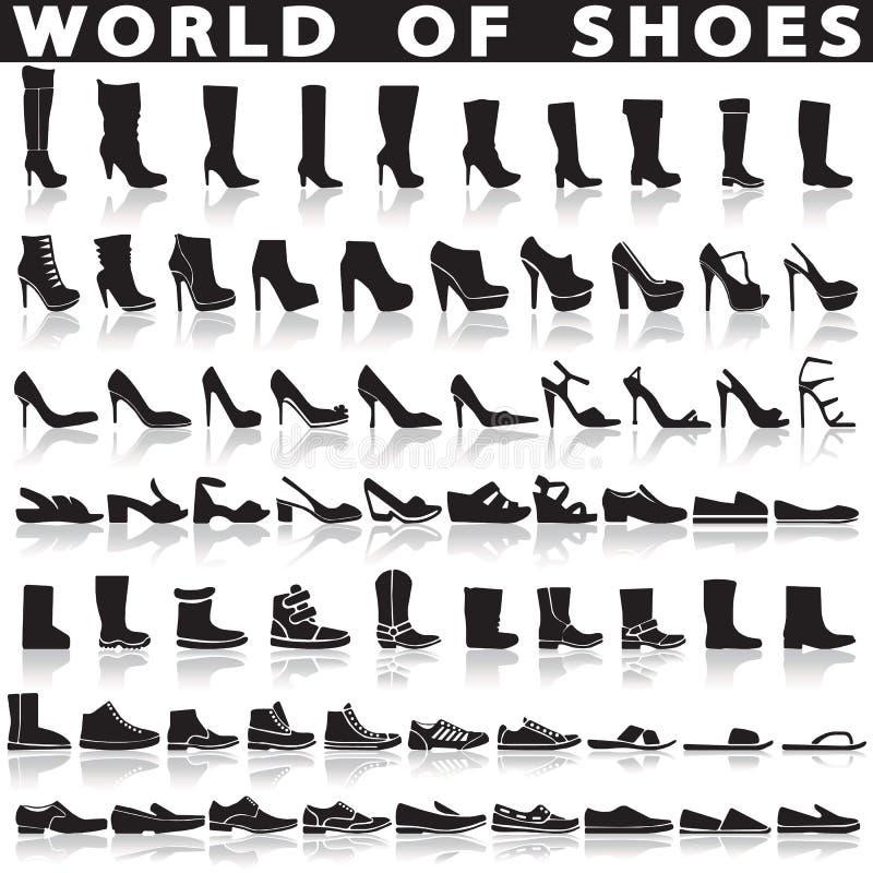 Zapatos fijados de iconos planos del vector stock de ilustración