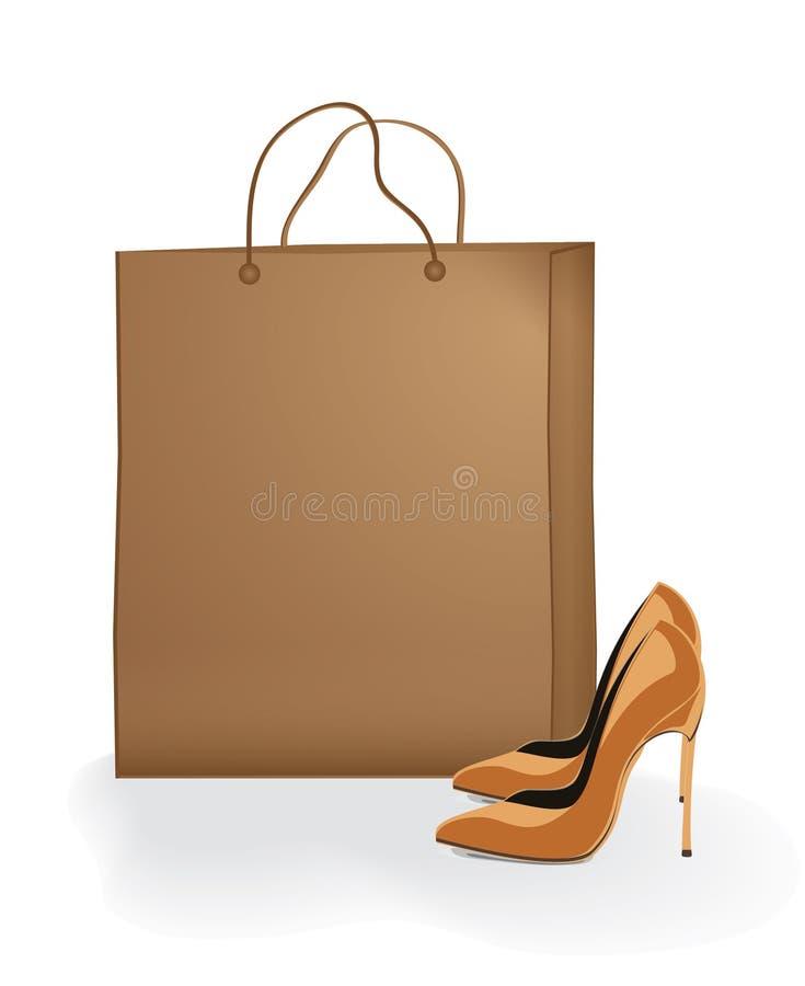 Zapatos Modernos Del Vector Con El Conjunto Del Papel Marrón Imágenes de archivo libres de regalías