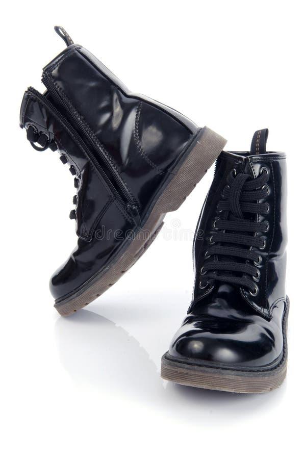 Zapatos negros largos viejos fotografía de archivo libre de regalías