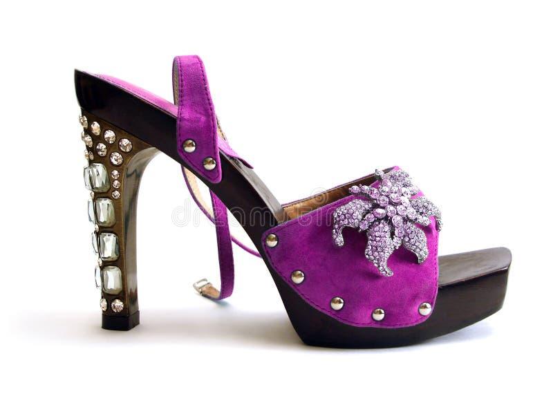 Zapatos púrpuras hermosos de la mujer foto de archivo