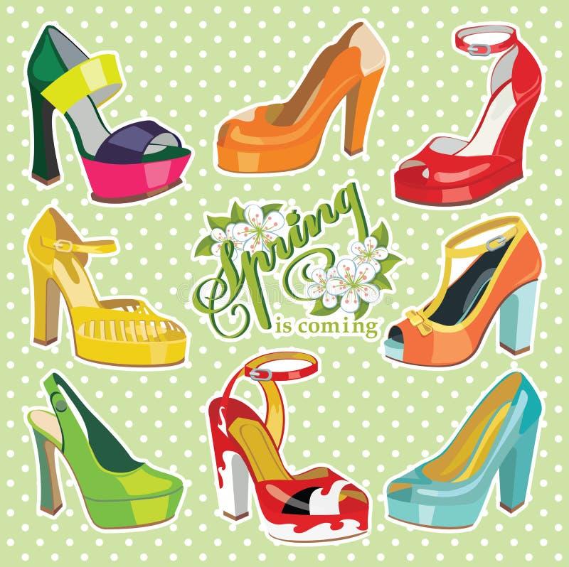 Zapatos para mujer del tacón alto de la moda colorida Primavera stock de ilustración
