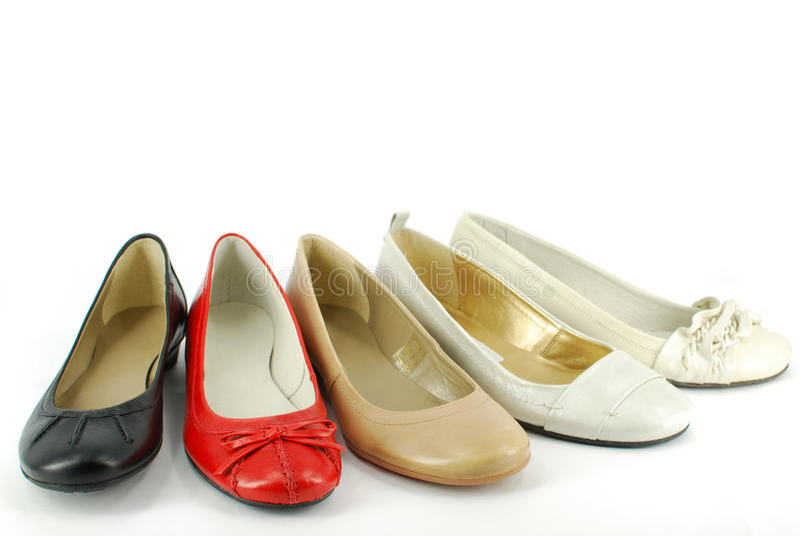 Zapatos planos de diversa mujer fotografía de archivo libre de regalías