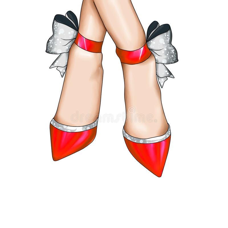 Zapatos rojos de la moda con la cinta de la plata del brillo ilustración del vector