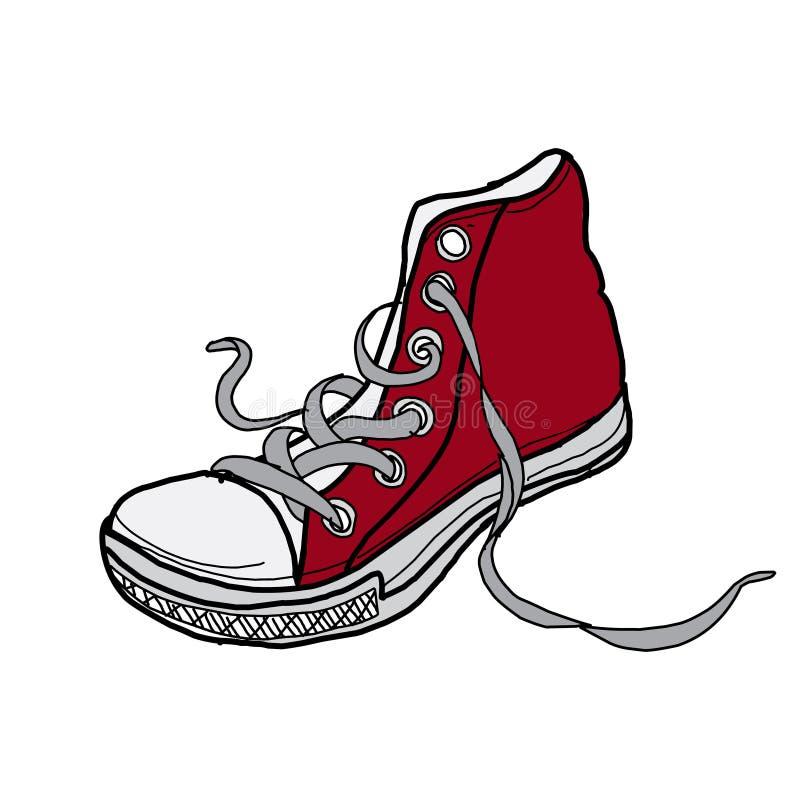 Zapatos rojos de moda del bosquejo del diseño del ejemplo en el fondo blanco libre illustration