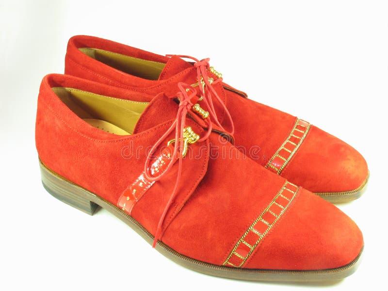 Zapatos Rojos Del Ante Fotografía de archivo libre de regalías