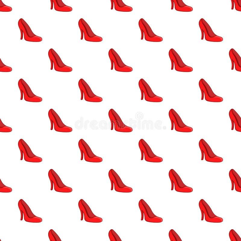 Zapatos rojos modelo, estilo de las mujeres de la historieta ilustración del vector