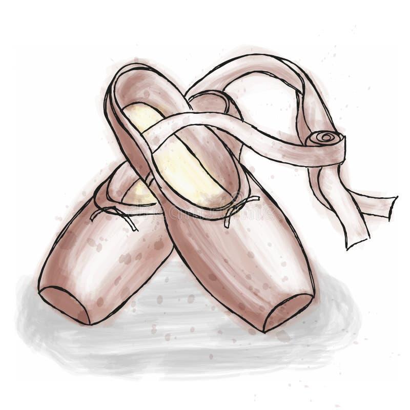 Zapatos rosados de la bailarina Zapatos del pointe del ballet con la cinta stock de ilustración