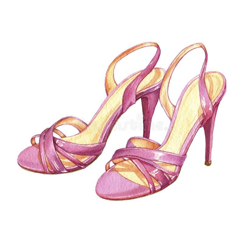 Zapatos rosados del verano fotografía de archivo